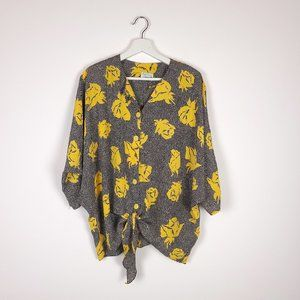 Vintage Dotted Yellow Floral Button Down Blouse